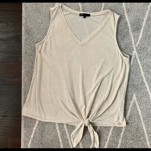 Gibson Tie Front Tan Striped Stretch Tank Top